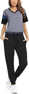 Hawiton Chandal Mujer Completo de Algodon,Conjuntos Deportivos Mujer Talla Grande,Camisas de Manga Corta y Pantalones con ...