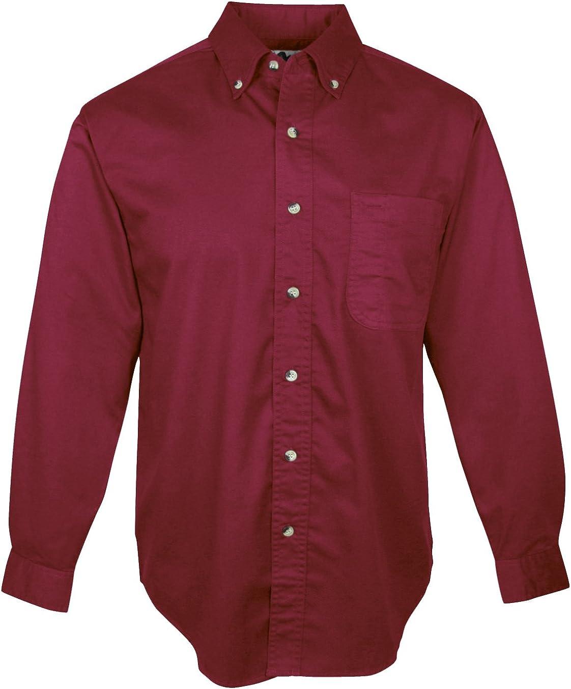 A&E Designs Men's Tall Size Down Collar Long Sleeve Dress Shirt - Maroon