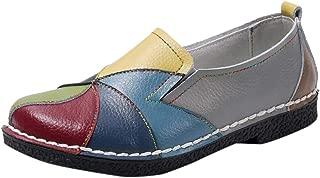 Kauneus Womens Boho National Style Loafers Soft Comfy Flat Walking Shoes Creative Colorful Casual Shoes