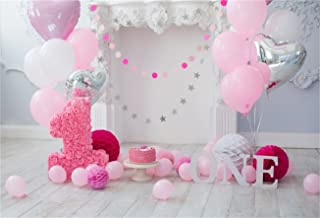 AOFOTO 7x5ft Happy 1st Birthday Background Baby Girl Interior Party Decoration Photography Backdrop Sweet Cake Smash Balloons Newborn Infant Children Banner Photo Studio Props Vinyl Wallpaper