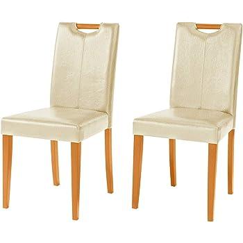 2X Stühle Esszimmerstuhl Küchenstuhl Essstuhl Polsterstuhl Lehnstuhl Kunstleder Creme Küche Esszimmer