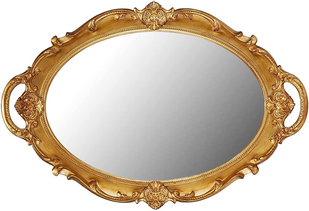 QualityIn New product!! Golden Oval Vintage Mirrored T Tray Decorative Mirror Choice