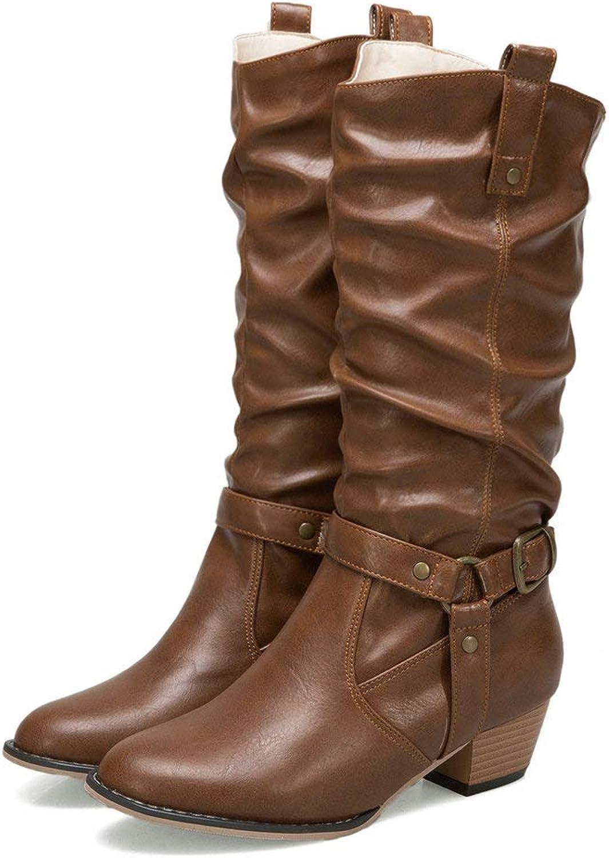 An mängXinLing Casual Mid Calf stövlar kvinnor kvinnor kvinnor Block low Heel Foll läder Buckle Strap bred Calf Slouch Western Riding stövlar  kundens första rykte först