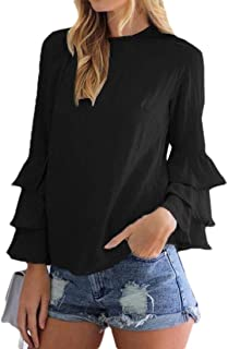 GRMO Women Plus Size Chiffon Lightweight Solid Ruffle T-Shirt Shirt Blouse Top
