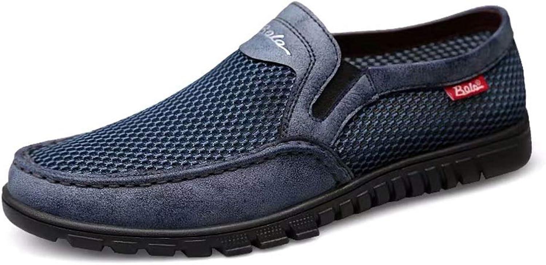 Mnner mittleren Alters Freizeitschuhe Herrenschuhe Sommer Einfarbig Neue komfortable weiche Mesh PU atmungsaktive rutschfeste weiche untere Schuhe ,Grille Schuhe ( Farbe   Blau , Größe   43 EU )