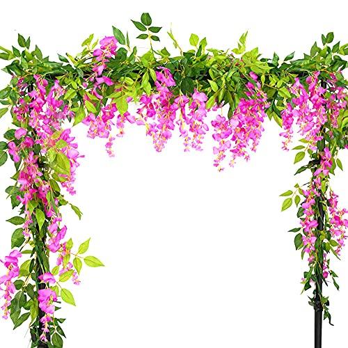 4PCS 1.8m Glycine Vigne Guirlandes De Guirlande Fleurs Artificielles,De Lierre Glycine Fleurs Artificielles Suspendus Plantes,pour Mariage De Jardin Décorations d'Intérieur (Rose)