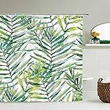 XCBN Plantas Verdes Frescas Hojas Cortinas de Ducha Cortinas de baño Tela Cortina de baño Impermeable con Ganchos Cortina de Ducha A15 150x200cm