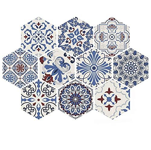azulejos adhesivos cocina,10 piezas de pegatinas de pared de baño y cocina, pegatinas de piso de seis caras antideslizantes pegatinas de azulejos decorativos -007