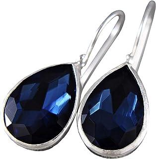 Argento 925 - orecchini - blu - gocce - strass - cristallo - regalo per lei - anniversario - compleanno - natale - regalo ...