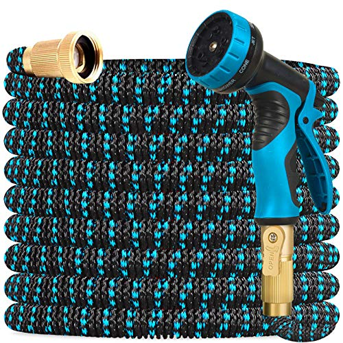 Gardguard 50ft Expandable Garden Hose Water Hose with 9 Function Nozzle and Durable 3-Layers Latex, Water Hose with Solid Brass Fittings