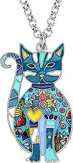 Bonsny Enamel Alloy Floral Kitten Cat Necklace Chain Pendant Pets Jewelry for Women Girl Charm Gift