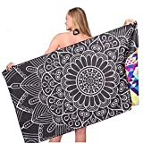Microfiber Mandala Sand Free Beach Towel-Quick Dry Super Absorbent Lightweight Oversized Large Towels Blanket for Travel Pool Swimming Bath Girl Women Men Geometric Triangle Black