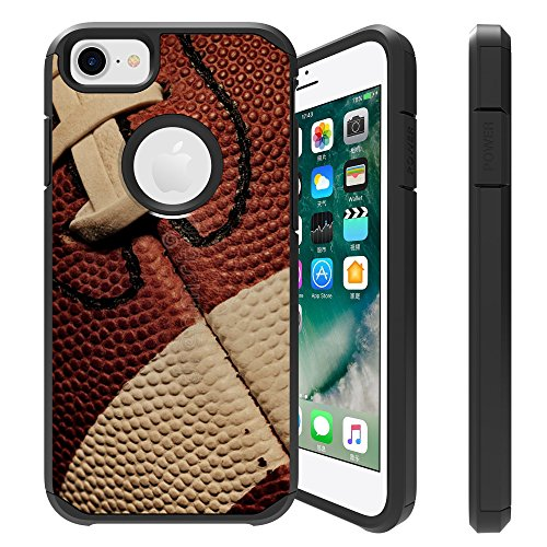 Untouchble Compatible with Apple iPhone 6, iPhone 7, iPhone 8 [FITS All Three] Case [Shock Bumper Case] 2 Piece Hybrid Case with Smooth Slim Finish - Football