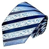 LORENZO CANA - Blau gestreifte Designer Luxus Krawatte aus 100% Seide - 84298