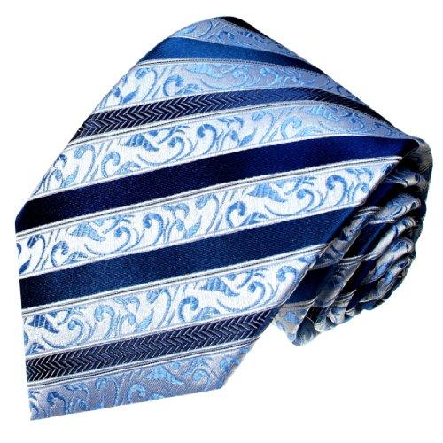 Lorenzo Cana - Blau gestreifte Designer Luxus Krawatte aus 100{5202f1c5c0d21af184d1ba83c21f1c5a12b5cf74713d4fa1efce7748389805a1} Seide - 84298
