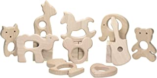 PENTA ANGEL 10Pcs Baby Wood Teething Rings Pain Relief Natural Wood Teething Toys Wooden Teether Animals for Infant Toddler, Heart Trojan Guitar Fox Duck Camel Fawn Elephant Panda (B)