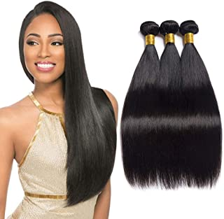 "FBHAIR 8A Grade Peruvian Virgin Hair Straight Human Virgin Hair Weave Weft 3 Bundles 100% Unprocessed Natural Color 10"" 12"" 14"""
