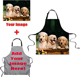 HUGS IDEA Custom Image Chef Kitchen Cooking Aprons Best Gift