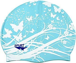 Silicona suave azul impermeable Hat gorro de piscina para adultos