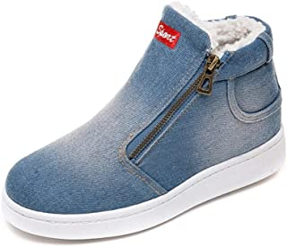 Sumeimiya Womens Snow Boots Denim Zipper Thick Warm Winter Flat Round Toe Board Shoes Low Top Canvas Casual Shoes