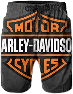 REBELN Men's Harley Davidson Logo Mens Summer Swim Trunks Quick Dry Funny Beach Board Shorts with Mesh Lining