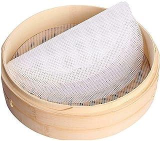 Inchant Lot de 5 tapis ronds en silicone anti-adhésif pour cuiseur vapeur en bambou, réutilisables, flexibles de 27,9 cm d...