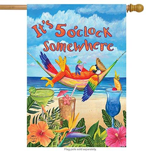 Briarwood Lane 5 O'clock Parrot Summer House Flag Tropical Beach Humor 28' x 40'