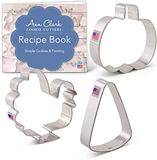 Ann Clark Cookie Cutters 3-Piece Fall Holiday Cookie Cutter Set with Recipe Booklet, Pumpkin, Candy Corn, Turkey