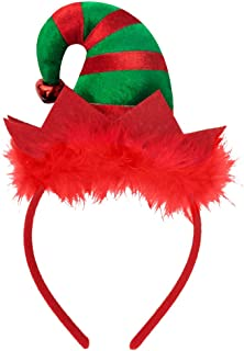 Sakolla Christmas Elf Headbands Hats - Elves Party Hats with Jingle Bells Feather for Santa Party, Christmas Eve Photo Booth - 9 x 5 inch, Red/Green