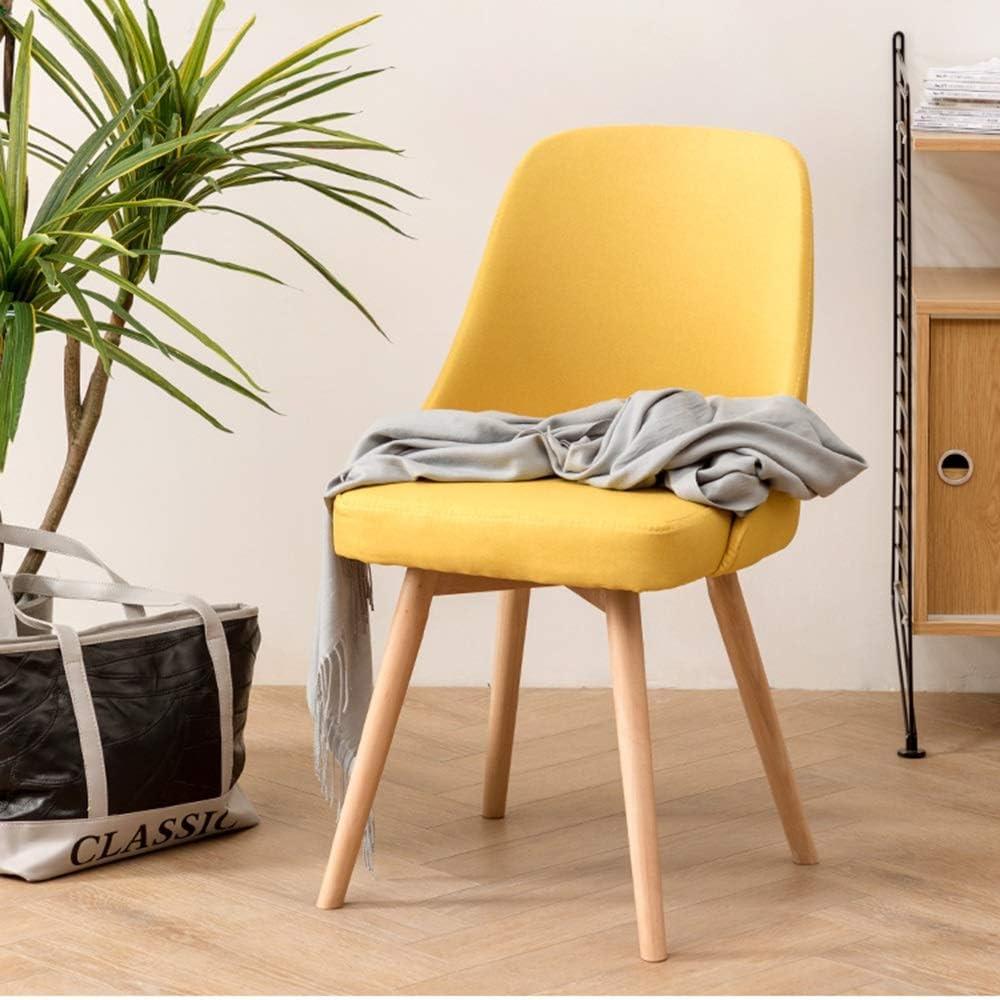LJFYXZ Chaises Salle Manger Simplicité moderne Dinette de cuisine Tissu respirant Chaise de bureau Pieds en bois massif (Color : Blue) Yellow