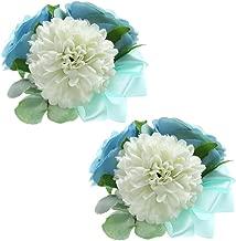 Febou Wrist Corsage 2 Packs Wedding Bridal Wrist Flower Wristband Hand Flower for Bride Bridesmaid Perfect for Wedding, Prom, Party (Wrist Flower, M-White Blue)