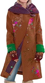 Howely Women Fall Winter Floral Print Wool Warm Single Button Outwear Jacket