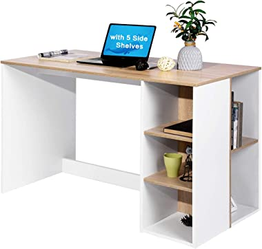 Office Computer Desk 47.2 Inch ps5 Gaming Desk with Drawers Kids Study Writing Desk Organizers with 5 Shelves Students Laptop