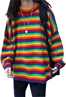 Women Rainbow Sweater Oversized Striped Knit Pullover Crew Neck Loose Sweater Tops