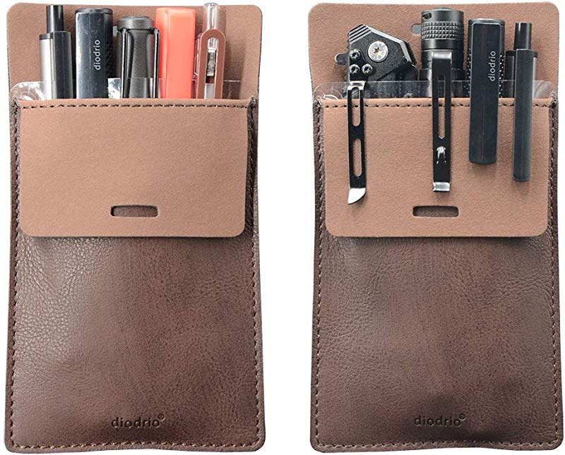 Pocket Protector Leather Pen Pouch Holder Organizer For Shirts Lab Coats Hold 5 Pens New Design To Keep Pens Inside When Bend Down No Breaking Of Pen Clip Thick PU Leather 2 Per Pack