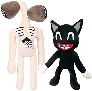 Yusat Siren Head Toy, Black Cartoon Cat Plushie Stuffed Animals Toys Hugging Pillow Home Decoration for Kids Halloween Plu...