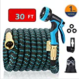 EASYHOSE 30ft Expandable Water Garden Hose,Expanding Flexible Hose with Strength Stretch Fabric with Brass Connectors - 9 Way Spray Nozzle +12 Months Warranty