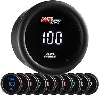 GlowShift 10 Color Digital 100 PSI Fuel Pressure Gauge Kit - Includes Electronic Sensor - Multi-Color LED Display - Tinted Lens - for Car & Truck - 2-1/16' (52mm)