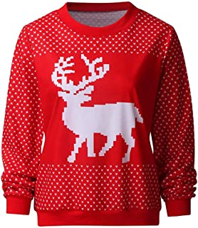 Christmas Sweater Women, Autumn and Winter Knitted Rib Pullover Sweater O-Neck Fashion Loose Slim Sweater Warm Pull