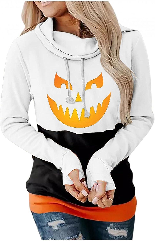 ONHUON Hoodies for Women,Women's Halloween Pumpkin Printed Sweatshirts Cowl Neck Long Sleeve Hoodie Pullover Tops