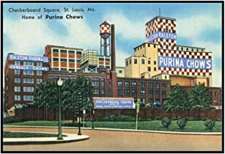 St. Louis, Missouri - Exterior View of Checkerboard Square, Ralston Purina Company (36x22 3/8 Framed Gallery Wrapped Stretched Canvas)