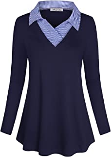 Women's Long Sleeve Contrast Collar Shirt A-line Pleated Office Tunic