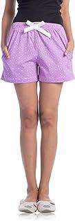 NITE FLITE Women's Purple Polka Print Cotton Shorts
