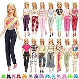 Miunana 20 Kleidung Shchuhe für Puppen = 5 Tops Bluse T-Shirt + 5 Hosen + 10 Schuhe für 11,5 Zoll...