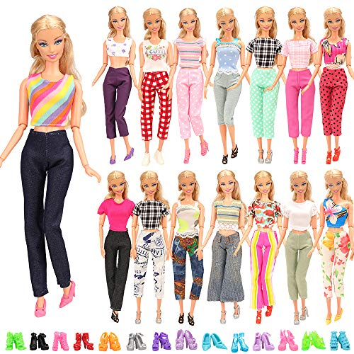 Miunana 20 Stück = 5 Tops Bluse T-Shirt + 5 Hosen Outfit + 10 Paar Schuhe für 11,5 Zoll Mädchen Puppen