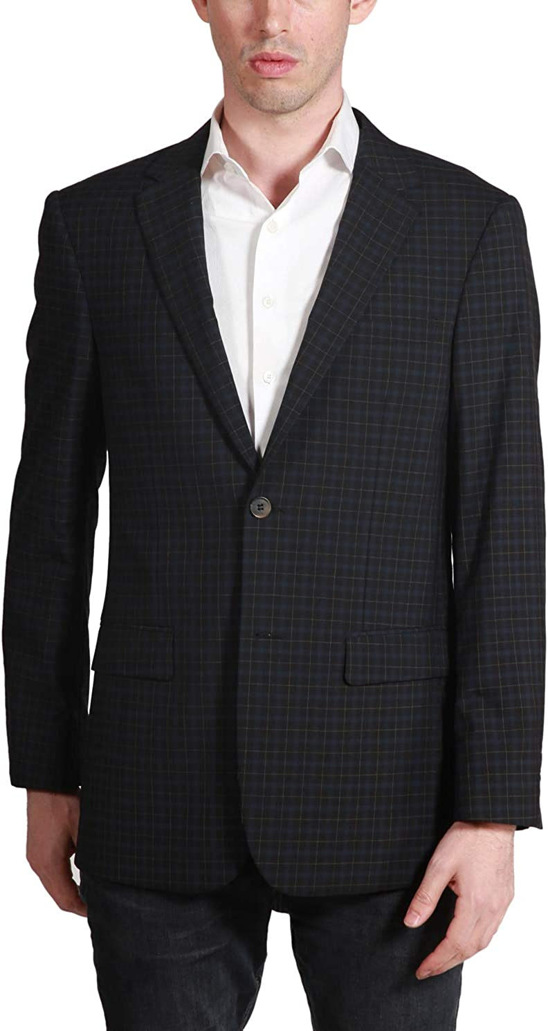 Prontomoda 444250 Men's Black Plaid Classic-fit Blazer - Black - 40L