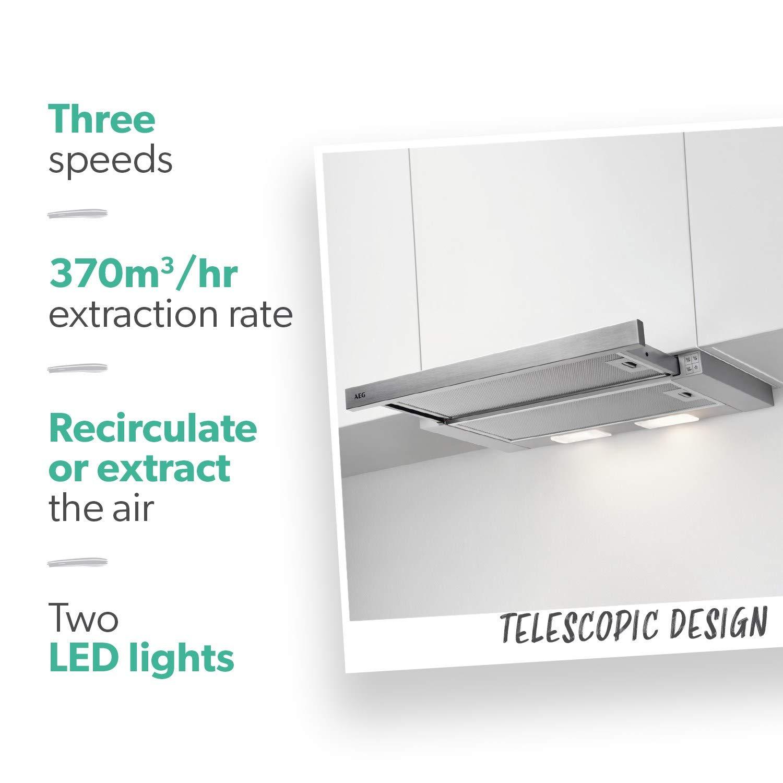 AEG DPB3631S - Campana extractora de 60 cm, color plateado: Amazon.es: Hogar