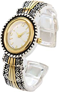 2Tone Metal Western Style Decorated Oval Face Women's Bangle Cuff Watch