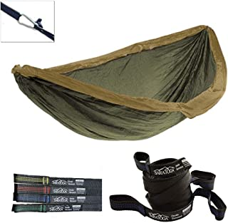 Double Lightweight Hammock with Tree Straps Parachute Nylon 2 Person Bed Backyard Portable Travel Survival Backpacking Indoor Outdoor (Khaki/w Blue Strap)
