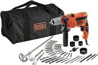 BLACK+DECKER CD714CREW2-QS - Taladro percutor con cable 710W, con 40 accesorios y bolsa de almacenaje